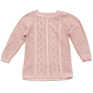 Sparkly Pink Cable Knit Sweater Dress
